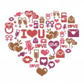 Valentines and Love Icons in Heart Shape — Stock Vector