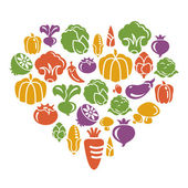 Vegetable Icons in Heart Shape — Stock Vector