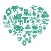 Kalp şeklinde hava durumu simgeleri — Stok Vektör