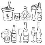 Alcohol Bottles Collection — Stock Vector