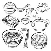 Asian food Collection — Stock Vector