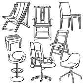 椅子のコレクション — ストックベクタ