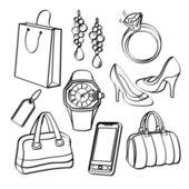 Shopping Set and Consumer Goods Collectio — Stock Vector