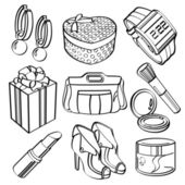 Shopping Set and Consumer Goods Collection — Cтоковый вектор