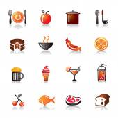 Food and Drinks Colorful Icons — Stock Vector