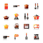 Kitchen Utensils and Appliances Colorful Icons — Stock Vector