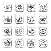 Flowers Doodle Icons — Stock Vector