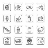 Food and Drinks Doodle Icons — Stock Vector