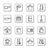 Kitchen Utensils and Appliances Doodle Icons — Stock Vector