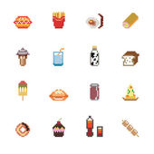 Food and Drinks Pixel Icons — Stock Vector