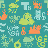 Weather Icons in Seamless Background — Stock Vector