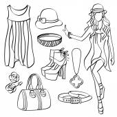 Fashion Lady with Clothing and Accessories — Stock Vector
