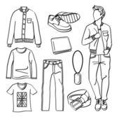 Mode Man met kleding en accessoires — Stockvector