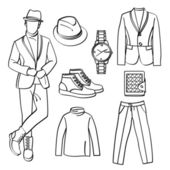 Fashion Man with Clothing and Accessories — Vector de stock