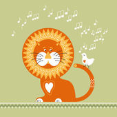Lion listens to the singing of the White Bird — Stock Vector