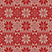 Winter Holiday Seamless Knitted Pattern — Stock Vector