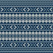 Winter Holiday Seamless Knitted Pattern — ストックベクタ