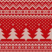Seamless winter holiday pattern on the wool knitted texture. Christmas background — Stock Vector