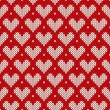 Seamless knitted pattern with hearts. Valentine's Day background — Stock Vector #57272441