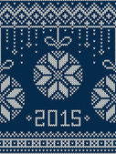 New Year 2015. Winter Holiday Seamless Knitted Pattern — Stock Vector
