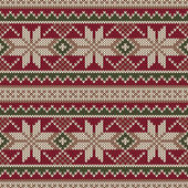 Christmas Sweater Design. Seamless Knitting Pattern. Winter Holiday Background — Stock Vector