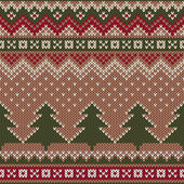 Seamless Winter Holiday Pattern on the wool knitted texture. Christmas and New Year Background — Cтоковый вектор