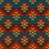 Tribal Aztec Seamless Pattern on the wool knitted texture — Stockvektor