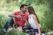 Couple on a picnik — Stock Photo