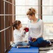 Mother and daughter playing with toys in the gym — Stock Photo #67328149