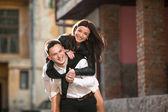 Couple haveing fun — Stock Photo