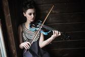 构成和拿着一把小提琴的女孩 — 图库照片