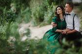 Man and woman at the lake — Stock Photo