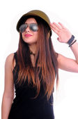Girl stay like a solder and saluting army — Stock Photo