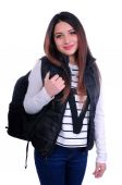 Cute student standing with backpack — ストック写真