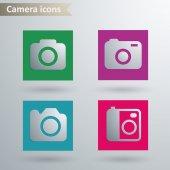 значки фотоаппарата — Cтоковый вектор