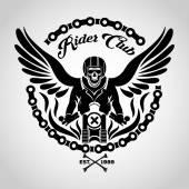 Motorcu kafatası logosu — Stok Vektör
