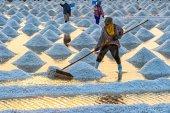 Salt field on sunset time — Stock Photo