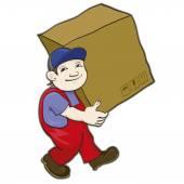 Porter carries a box — Stock Vector