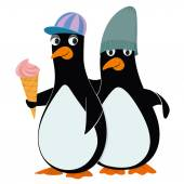 Penguins and ice cream — Stock Vector