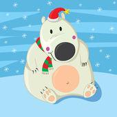Polar Bear Christmas — Stock Vector