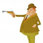 Man with dueling pistol — Stock Vector