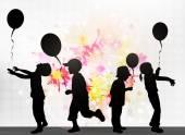 Children with balloons — Stock Vector