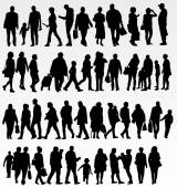 People silhouettes collection — Stock Vector