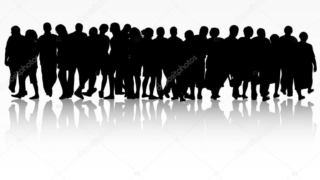 Grupo De Siluetas De Personas Mujeres Y Hombres