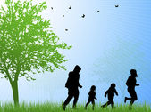 Happy family silhouettes — Stock Vector