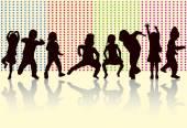 Happy children dancing together — Stock Vector