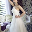 Beautiful young bride with long brown wavy hair in a lush white wedding dress of tulle, embroidered with beads corset, bow tied at the waist photographed in the interior of the restaurant — Stock Photo #52105403