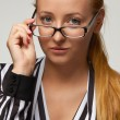 Beautiful sexy woman bisnesswoman silk blouse glasses for vision — Stock Photo #63149053