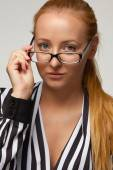Beautiful sexy woman bisnesswoman silk blouse glasses for vision — Foto Stock