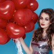 Beauty sexy woman with red heart baloon Valentines day birthday — Stock Photo #64533395